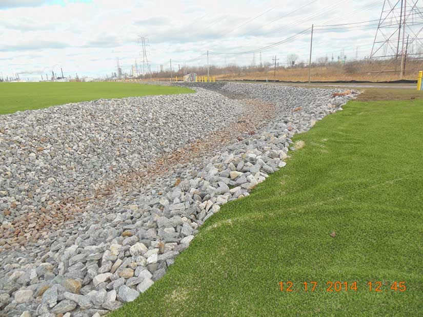 Gravel drainage ditch