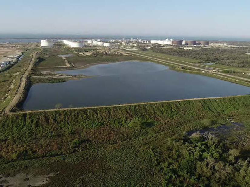 drone view facing south of retention pond