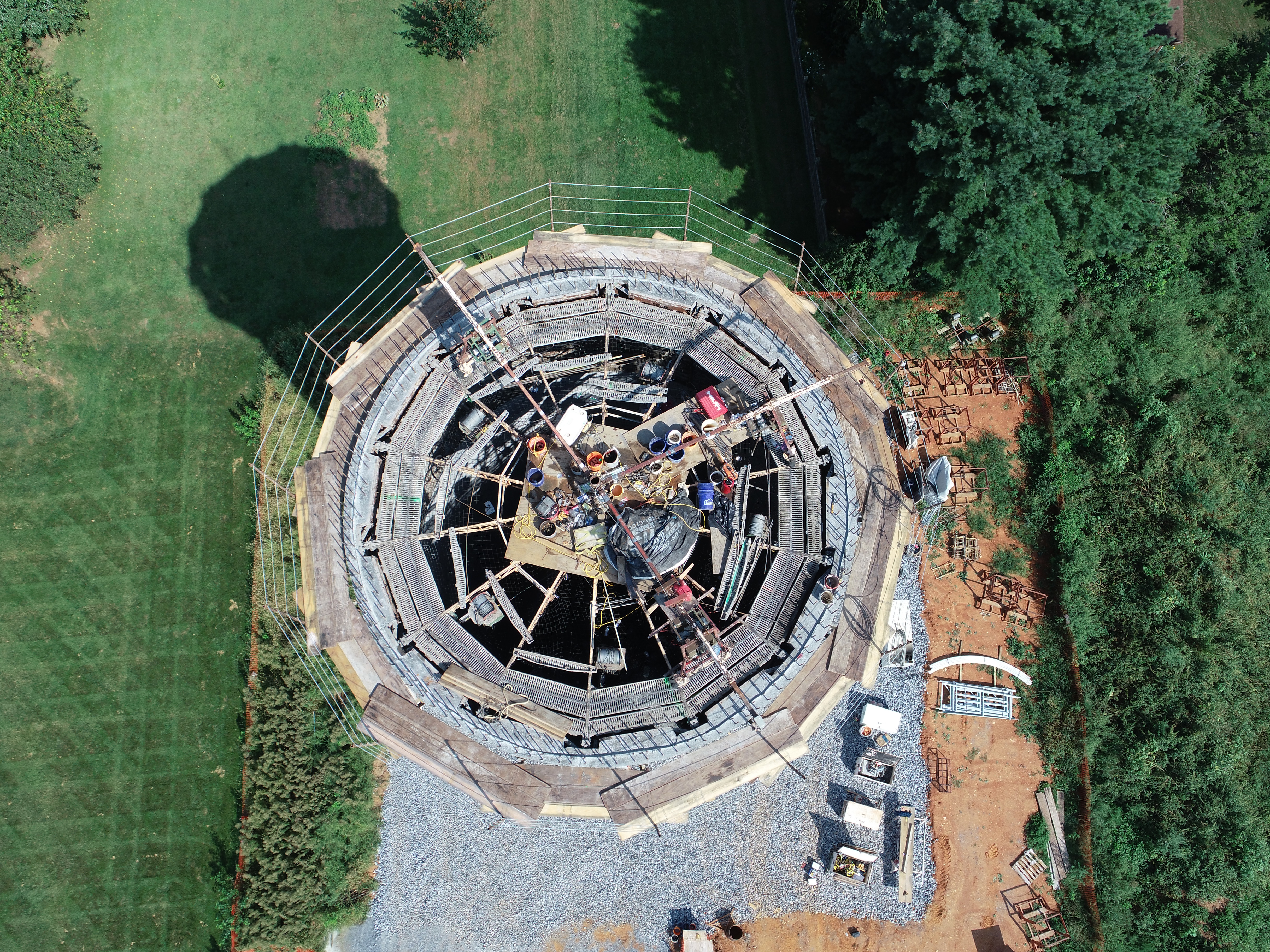 Drone view water tower construction