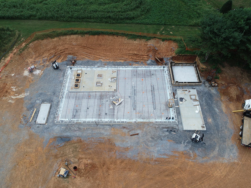 Drone view of water tower construction